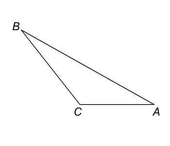 Triangle ABC with angles A and C less than 90 degrees and angle B is more than 90 degrees.