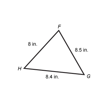 Triangle FHG contains sides FH, HG, and GF with lengths 8 inches, 8.4 inches, and 8.5 inches, respectively.
