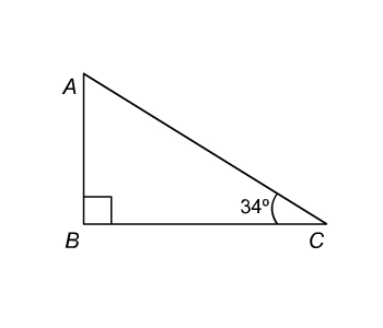 Right triangle ABC; angle B is a right angle and angle C is 34 degrees.