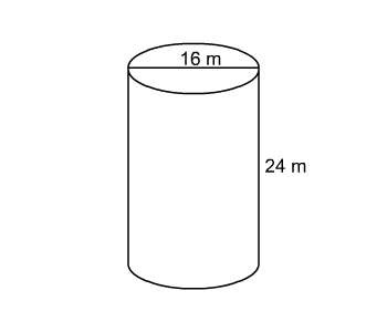 cylinder with diameter 16 meters and height 24 meters