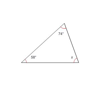 Triangle with angles of 58 degrees, 74 degrees, and x degrees.