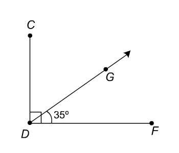Right angle CDF with point G on the interior. Angle GDF is 35 degrees.