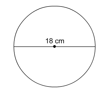 circle with diameter 18 centimeters