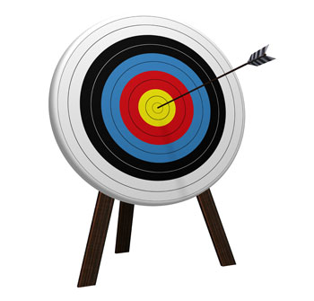 Arrow in the center of target on archery board