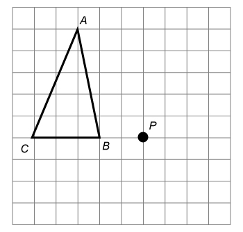 Coordinate plane with triangle ABC plotted at A(4, 9), B(4, 4), C(1, 4), and a point P plotted at (6, 4).