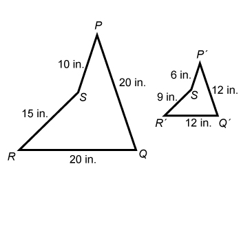 The first quadrilateral PQRS has side lengths 20 in, 20 in, 15 in, 10 in, respectfully; and, the prime quadrilateral PQRS has side lengths, 12 in, 12 in, 9 in, 6 in, respectively.