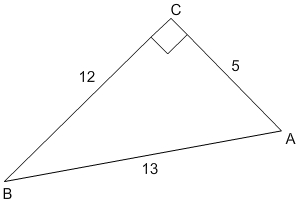 Right triangle with right angle labeled capital C and acute angles capital A and capital B. Hypotenuse has length 13, side AC has length 5, and side BC has length 12