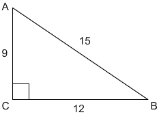 Right triangle with right angle labeled capital C and acute angles capital A and capital B. Hypotenuse has length 15, side AC has length 9, and side BC has length 12.