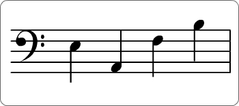 Four notes placed on a music staff