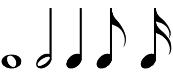 Five common music notes.