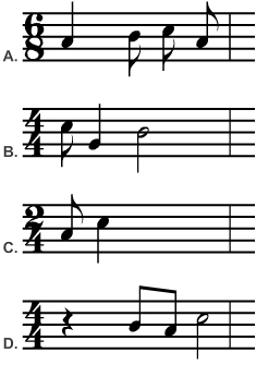 Four measures with different time signatures - which has the correct number of beats Introduction to Music Appreciation-Part 1