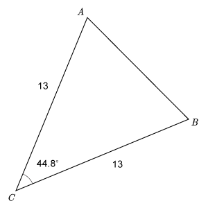 Triangle A B C has leg A C labeled 13 and leg B C labeled 13. Angle A C B is labeled 44.8 degrees.